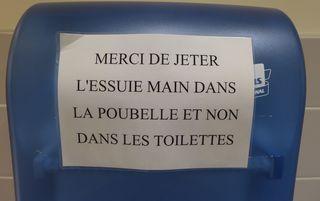 Hinweisschild - essuie main, poubelle, toilettes