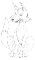 Fuchs - Tier, braun, wild, Zoo, Wildtier, Anlaut B, Fuchs, Fox, Wald, heimisch, Handzeichung, Raubtier, schlau, Reinecke, Sagenfigur, Illustration