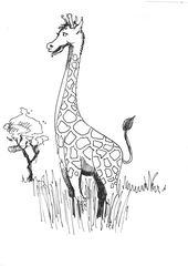 Giraffe - Tier, braun, wild, Zoo, Wildtier, Anlaut G, Giraffe, Handzeichung, gelb, Savanne, Illustration