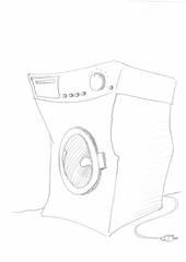 Waschmaschine - Waschmaschine, Washing machine, Handzeichung, waschen, Wäsche, Haushalt, Haushaltstechnik, Elektrizität, Strom