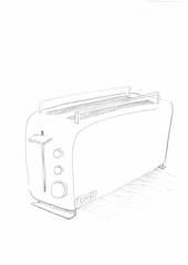 Toaster - Toaster, Handzeichung, Haushalt, Kleingerät, Küchenkleingerät, toasten, Haushaltstechnik, Elektrizität, elektrisch, Strom