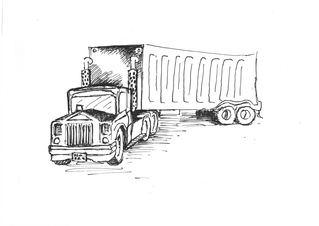Lastwagen - Laster, LKW, Handzeichung, Lorry, truck, Müll, Unrat, Transport, Verschmutzung, Transportmittel, Bauwesen, Lastentransport, Lastwagen