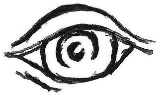 Auge - Auge, Handzeichung, eye, aufmerksam, Aufmerksamkeit, beobachten, Beobachtung, Pupille, Lid, sehen, schauen, Sinnesorgan, look, Anlaut Au
