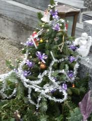 Christbaum auf Grab - Weihnachten, Christbaum, Weihnachtsbaum, geschmücktes Grab zu Weihnachten