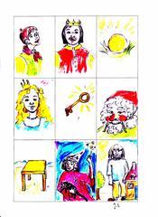 Märchenkarten - Prinzessin, Prinz, goldene Kugel, Riese, Fee, Schlüssel, Tischlein deck Dich, Zwerg