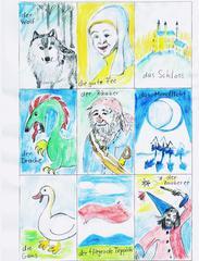 Märchenkarten 3. Teil - Wolf, Fee, Drache, Schloss, Räuber, Märchen, Wald, Zauberin, fliegender Teppich