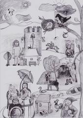 Wimmelbild zu den Märchenkarten - Prinz, Prinzessin, König, Schloss, Turm, Märchen, Räuber, Räuberhöhle, Nest, Vogel, Rapunzel, Ritter, Pferd