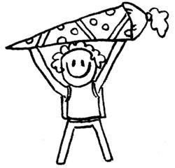Kind mit Schultüte I - Comic, Cartoon, Ausmalbild, Schule, Schultüte, Einschulung, Zuckertüte, erster Schultag