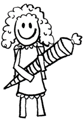 Kind mit Schultüte III - Comic, Cartoon, Ausmalbild, Schule, Schultüte, Einschulung, Zuckertüte, Schultüte, erster Schultag