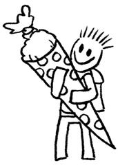 Kind mit Schultüte IV - Comic, Cartoon, Ausmalbild, Schule, Schultüte, Einschulung, Zuckertüte, Schultüte, erster Schultag