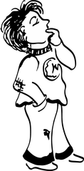 Nachdenklicher Junge - Junge, Bub, nachdenken, rätseln, Handzeichnung, überlegen, grübeln, in sich gehen, sich befassen, sich Gedanken machen