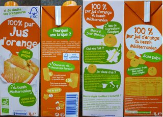 Jus d'orange - jus, orange, jus d'orange, brique, pulpe, bio, agriculture, biologique, bassin, méditerranée