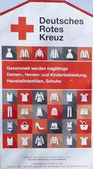 Hinweisschild DRK Kleidersammlung - DRK, rotes, Kreuz, Kleidung, Bekleidung, Haushaltstextilien, Schuhe, Recycling, Bedürftige, Textilien
