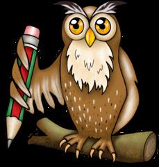 Uhu mit Bleistift - Uhu, Eule, Vogel, Wildtier, Tier, schlau, weise, Stift, Bleistift, schreiben, zeichnen, Illustration