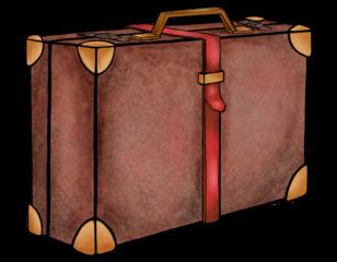 Koffer - Koffer, Gepäck, transportieren, Reise, reisen, verreisen, Koffergurt, Illustration