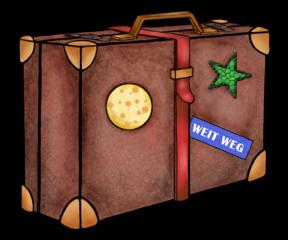 Koffer mit Aufkleber - Koffer, Gepäck, transportieren, Reise, reisen, verreisen, Aufkleber, Koffergurt, Gesprächsanlass, Illustration