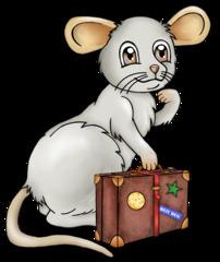 Maus mit Reisekoffer - Maus, Nagetier, Nager, Tier, grau, fröhlich, Reise, verreisen, Koffer, Fernweh, Cartoon, Comic, Illustration, Gesprächsanlass