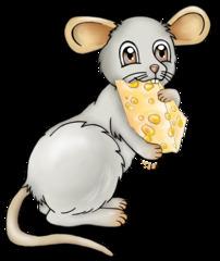 Maus mit Käse - Maus, Nager, Nagetier, grau, fröhlich, Käse, Milch, Milchprodukt, Hunger, Appetit, Mahlzeit, Essen, Illustration, Comic, Cartoon