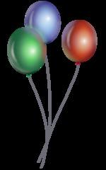 Luftballons  - Luftballons, Ballons, Bündel, Luft, fliegen, schweben, Gas, Auftrieb, Party, Feier, Fest, Geburtstag, feiern, grün, blau, rot, Schreibanlass, Illustration, Cartoon, Comic