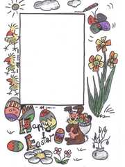 Postkarte Ostern - Postkarte, Blumen, Frühling, Ostern, Osterhase, Frühblüher
