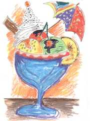 Eisbecher im Kunstunterricht - Eisbecher, Bunstifte, Vorlage, Idee, Sommer, Kunst