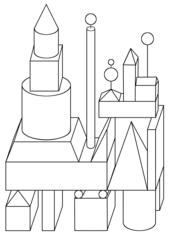 Geoburg - Quader, Würfel, Zylinder, Pyramide, Kegel, Kugel, Prisma, Geometrie, Körper, bauen, Flächen, Quadrat, Rechteck, Dreieck, Kreis, Trapez, Mathematik, räumliches Vorstellungsvermögen, Illustration