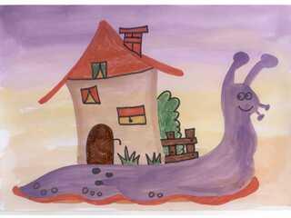Schneckenhaus - Schnecke, Haus, Wasserfarben, Filzstifte, Beispielbild