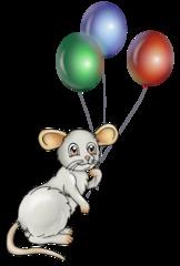 Maus mit Ballons - Maus, Nager, Nagetier, Tier, grau, fröhlich, feiern, Feier, Party, Fest, Geburtstag, Ballons, Luftballons, rot, blau, grün, fliegen, Gas, Auftrieb, Schreibanlass, Illustration, Cartoon, Comic