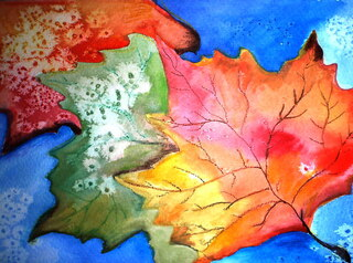 Ahornblatt - Kunstuntericht, Herbst, Farbverlauf, Blatt gestalten, Wasserfarbe