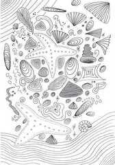 Muscheln  Liniengrafik - Kunstunterricht, Fineliner, Liniengrafik, Muscheln, Sommer