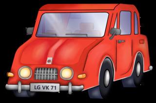 Auto - Auto, PKW, KFZ, Personenwagen, Kraftwagen, Kraftfahrzeug, Fahrzeug, fahren, Verkehr, Anlaut Au, Cartoon, Comic, Illustration