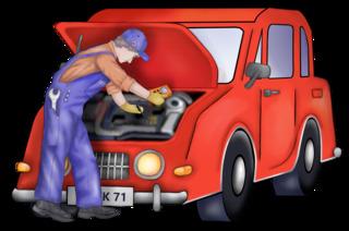 KFZ-Mechaniker - Auto, PKW, KFZ, Personenwagen, Kraftwagen, Kraftfahrzeug, Fahrzeug, fahren, Verkehr, Anlaut Au, Mechaniker, Automechaniker, KFZ-Mechaniker, KFZ-Mechatroniker, Mechatroniker, Werkstatt, Beruf, Ausbildung, Praktikum, Arbeitslehre, AWT, Wirtschaft und Beruf, Cartoon, Comic, Illustration