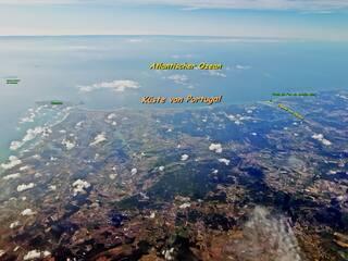 Portugal Atlantikküste Ausschnitt 1 mit Text - Portugal, Ozean, Atlantik, Küste, Sprache, portugiesisch, Europa, Peniche, Ferrel, Nadadouro, Lagune von Obidos, Foz do Arelho, Oceano Atlântico