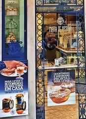 Lissabon Geschäft #3 Bildausschnitt - Portugal, Lissabon, Geschäft, Nata, Creme, Kuchen, kaufen, Sprache, portugiesisch, süß, Süßigkeiten, Landeskunde, Auslage, Werbung