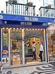 Lissabon Geschäft #3 - Portugal, Lissabon, Geschäft, Nata, Creme, Kuchen, kaufen, Sprache, portugiesisch, süß, Süßigkeiten, Landeskunde, Auslage, Werbung