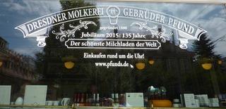 Molkerei Pfund Dresden #1 - Molkerei, Dresden, Kult, Geschichte, Milchprodukte, Geschäft, Souvenirladen, Auslage, Laden, Greißlerei, Schaufenster