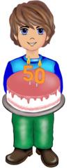 Junge mit Torte - Kind, Bub, Junge, Torte, Cremetorte, Kerze, Kerzen, 50, feiern, Geburtstag, Geburtstagsfeier, Jubiläumsfeier, Jubiläum, Illustration, Gesprächsanlass