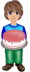 Junge mit Torte - Kind, Bub, Junge, Torte, Cremetorte, feiern, Geburtstag, Geburtstagsfeier, Jubiläumsfeier, Jubiläum, Illustration, Gesprächsanlass