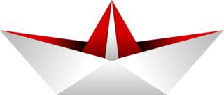 Papierschiff - Schiff, Boot, Papierschiff, Papierboot, Papier, falten, Faltung, Origami, Faltarbeit, basteln, symmetrisch, Symmetrie, Illustration