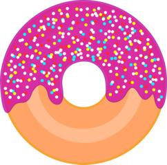 Donut mit Zuckerguss und Liebesperlen - Donut, Krapfen, Backwaren, Süßspeisen, Gebäck, Essen, Nahrung, Lebensmittel, Dickmacher, Zucker, Fett, Zuckerguss, Kalorien, bunt, Glasur, Liebesperlen