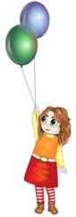 Mädchen mit zwei Ballons - Mädchen, Mensch, Kind, Ballon, Ballons, Luftballons, feiern, fröhlich, glücklich, Geburtstag, Feier, Fest, Illustration, Schreibanlass, Bündel, Luft, fliegen, schweben, Gas, Auftrieb, Party, grün, blau, Cartoon, Comic