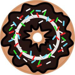 Donut mit Schokoglasur - Donut, Krapfen, Backwaren, Süßspeisen, Gebäck, Essen, Nahrung, Lebensmittel, Dickmacher, Zucker, Fett, Zuckerstreusel, Schokoglasur, Schokoguss, Kalorien, bunt, Glasur, süß