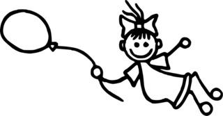 Mädchen fliegt mit Luftballon - Strichmännchen, Strichfigur, Mädchen, Luftballon, Ballon, fliegen, Helium, Freude, Spaß