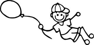 Junge fliegt mit Luftballon - Strichmännchen, Junge, Bube, Kind, Strichfigur, Ballon, Luftballon, Helium, fliegen, Freude, Spaß