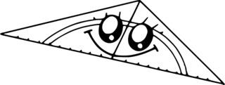 Geodreieck mit Augen - Geodreieck, Dreieck, Lineal, Mathematik, Winkel, Winkelmesser, rechtwinklig, gleichschenklig, messen, Augen