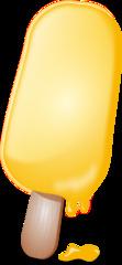 Eis am Stiel - Eis, Stieleis, Stiel, Speiseeis, Erfrischung, Dessert, Lebensmittel, Süßigkeit, süß, kalt, kühl, lecker, schlecken, gelb, Sommer, Illustration, Anlaut ei