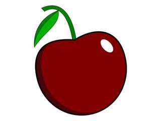 Kirsche - Kirsche, Steinobst, Frucht, Obst, Anlaut K, Kern, Wörter mit sch, rot, reif, süß, lecker, Clipart, Illustration