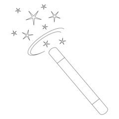 Zauberstab - Umrisszeichnung - Zauberstab, zaubern, Magie, Trick, Täuschung, Zauberei, Magier, Illusionist, funkeln, Stern, Sterne, verzaubern, Anlaut Z, Illustration, Umriss, Umrisszeichnung, Umrissbild