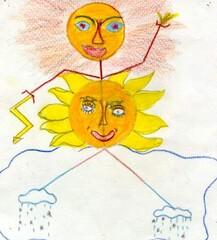 Wetter Maxi 3 - Wetter, Strichmännchen, Sonne, Regen, Blitz