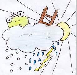 Wetterfrosch versteckt sich - Wetterfrosch, Wetter, Klima, Wolke, Sonne, Blitz, Regen, Wetterwechsel